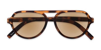 Folded of The March Reading Sunglasses in Matte Tortoise with Amber