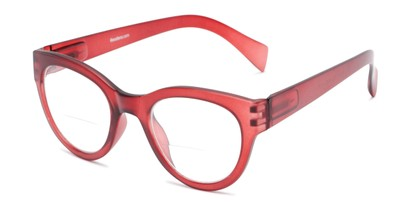 Angle of The Maren Bifocal in Dark Matte Red, Women's Cat Eye Reading Glasses