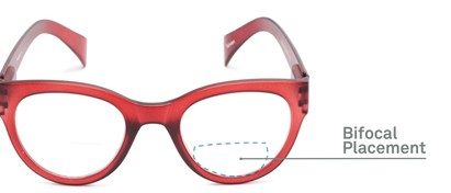 Detail of The Maren Bifocal in Dark Matte Red