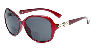 Angle of The Marigold Bifocal Reading Sunglasses in Red/Gold with Smoke, Women's Round Reading Sunglasses