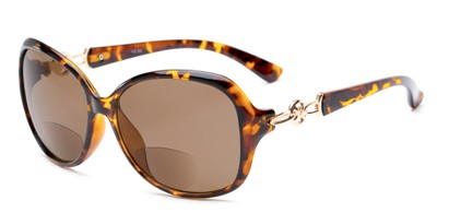 Angle of The Marigold Bifocal Reading Sunglasses in Tortoise/Gold with Amber, Women's Round Reading Sunglasses