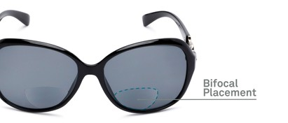 Detail of The Marigold Bifocal Reading Sunglasses in Black/Silver with Smoke