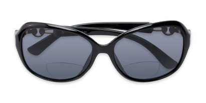 Folded of The Marigold Bifocal Reading Sunglasses in Black/Silver with Smoke