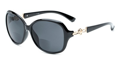 Angle of The Marigold Bifocal Reading Sunglasses in Black/Gold with Smoke, Women's Round Reading Sunglasses