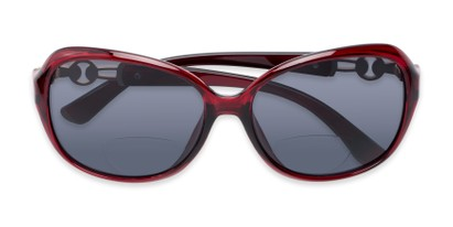 Folded of The Marigold Bifocal Reading Sunglasses in Red/Gold with Smoke