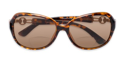 Folded of The Marigold Bifocal Reading Sunglasses in Tortoise/Gold with Amber