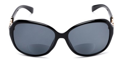 Front of The Marigold Bifocal Reading Sunglasses in Black/Gold with Smoke