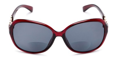 Front of The Marigold Bifocal Reading Sunglasses in Red/Gold with Smoke