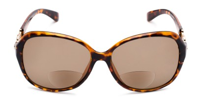 Front of The Marigold Bifocal Reading Sunglasses in Tortoise/Gold with Amber