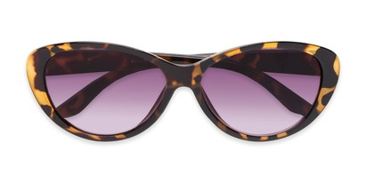 Folded of The Mary Reading Sunglasses in Yellow Tortoise with Smoke