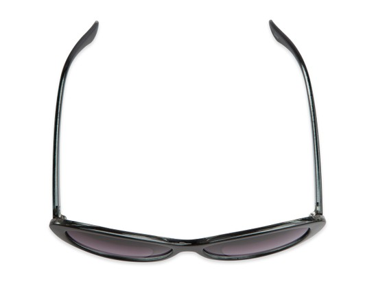 Overhead of The Mary Reading Sunglasses in Black with Smoke