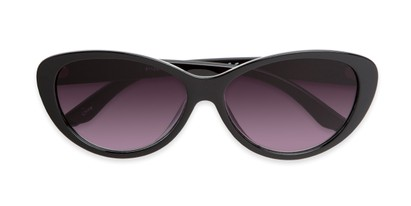 Folded of The Mary Reading Sunglasses in Black with Smoke