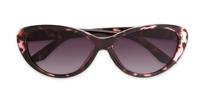 Folded of The Mary Reading Sunglasses in Pink Tortoise with Smoke