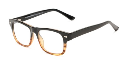 Angle of The Max - Foster Grant for Readers.com in Black/Brown Stripe Fade, Men's Retro Square Reading Glasses