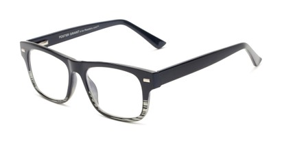 Angle of The Max - Foster Grant for Readers.com in Navy Blue/Grey Stripe Fade, Men's Retro Square Reading Glasses