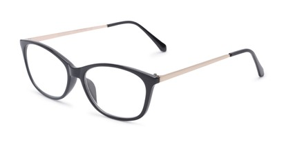Angle of The Melon in Black/Gold, Women's Cat Eye Reading Glasses