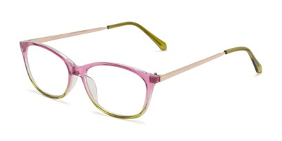 Angle of The Melon in Pink/Green, Women's Cat Eye Reading Glasses