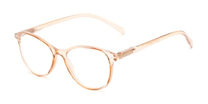 Angle of The Mercy Multifocal Computer Reader in Tan, Women's Cat Eye Computer Glasses