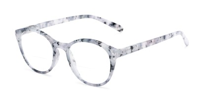 Angle of The Merlot Bifocal in Grey Tortoise, Women's and Men's Round Reading Glasses