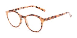 Angle of The Merlot Bifocal in Orange Tortoise, Women's and Men's Round Reading Glasses