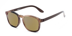 Angle of The Micah Reading Sunglasses in Brown with Gold Mirror, Women's and Men's Retro Square Reading Sunglasses