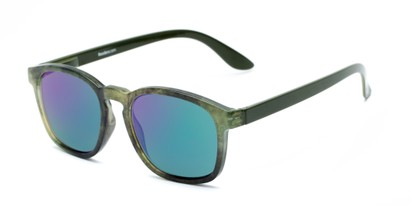 Angle of The Micah Reading Sunglasses in Green with Green/Purple Mirror, Women's and Men's Retro Square Reading Sunglasses