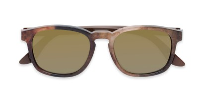 Folded of The Micah Reading Sunglasses in Brown with Gold Mirror