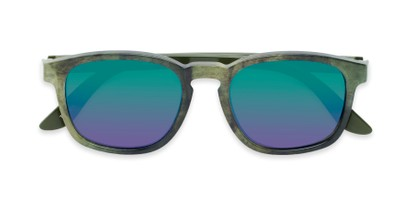 Folded of The Micah Reading Sunglasses in Green with Green/Purple Mirror