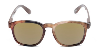 Front of The Micah Reading Sunglasses in Brown with Gold Mirror