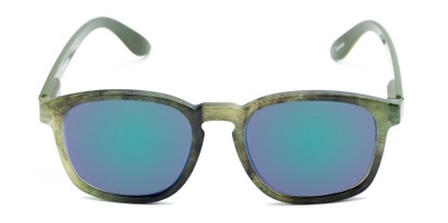 Front of The Micah Reading Sunglasses in Green with Green/Purple Mirror