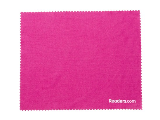 Front of Microfiber Lens Cleaning Cloth in Dark Pink
