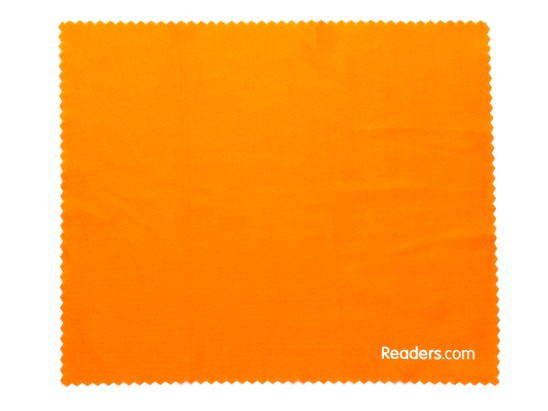 Front of Microfiber Lens Cleaning Cloth in Orange