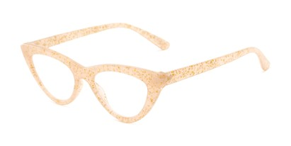 Angle of The Midnight in Tan/Gold, Women's Cat Eye Reading Glasses