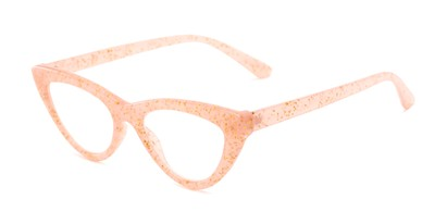 Angle of The Midnight in Blush Pink, Women's Cat Eye Reading Glasses