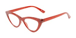 Angle of The Midnight in Burgundy Red, Women's Cat Eye Reading Glasses