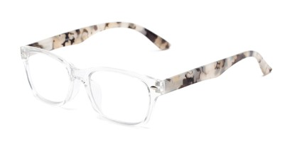 Angle of The Millard Multifocal Reader in Clear/Tortoise, Women's and Men's Retro Square Computer Glasses