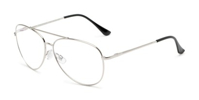 Angle of The Miller Multifocal Computer Reader in Silver, Women's and Men's Aviator Reading Glasses