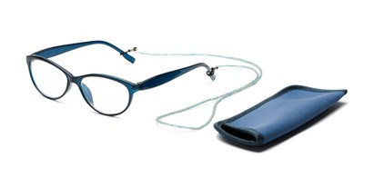 Angle of The Millie Set in Navy Blue Set, Women's Cat Eye Reading Glasses