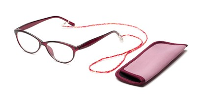 Angle of The Millie Set in Wine Set, Women's Cat Eye Reading Glasses