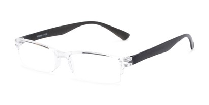 Angle of The Milo in Clear/Black, Women's and Men's Rectangle Reading Glasses