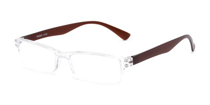 Angle of The Milo in Clear/Brown, Women's and Men's Rectangle Reading Glasses