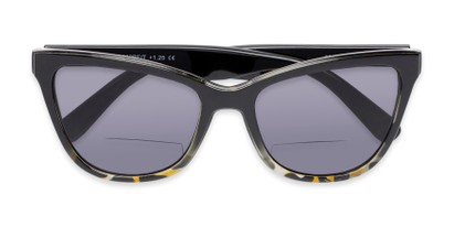 Folded of The Mimosa Bifocal Reading Sunglasses in Black/Green Tortoise with Smoke
