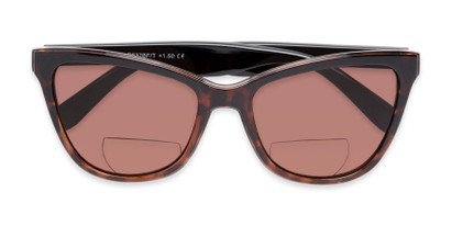 Folded of The Mimosa Bifocal Reading Sunglasses in Brown/Tortoise with Amber