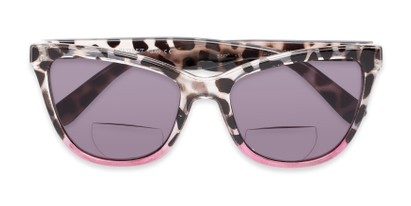 Folded of The Mimosa Bifocal Reading Sunglasses in Tortoise/Pink with Smoke