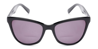 Front of The Mimosa Bifocal Reading Sunglasses in Black with Smoke