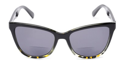 Front of The Mimosa Bifocal Reading Sunglasses in Black/Green Tortoise with Smoke