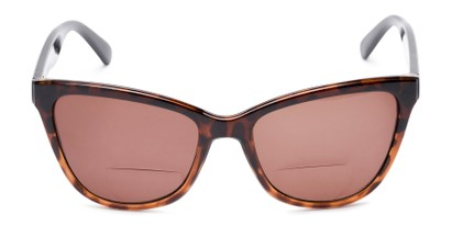 Front of The Mimosa Bifocal Reading Sunglasses in Brown/Tortoise with Amber