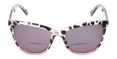 Front of The Mimosa Bifocal Reading Sunglasses in Tortoise/Pink with Smoke