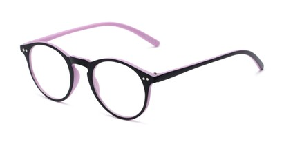 Angle of The Mint in Black and Purple, Women's and Men's Round Reading Glasses