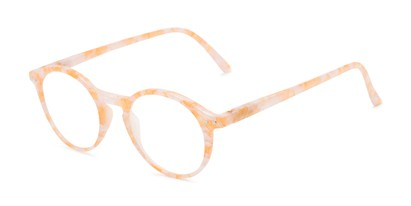 Angle of The Misha in Orange, Women's Round Reading Glasses